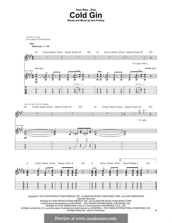 Cold Gin (KISS): For guitar with tab by Ace Frehley