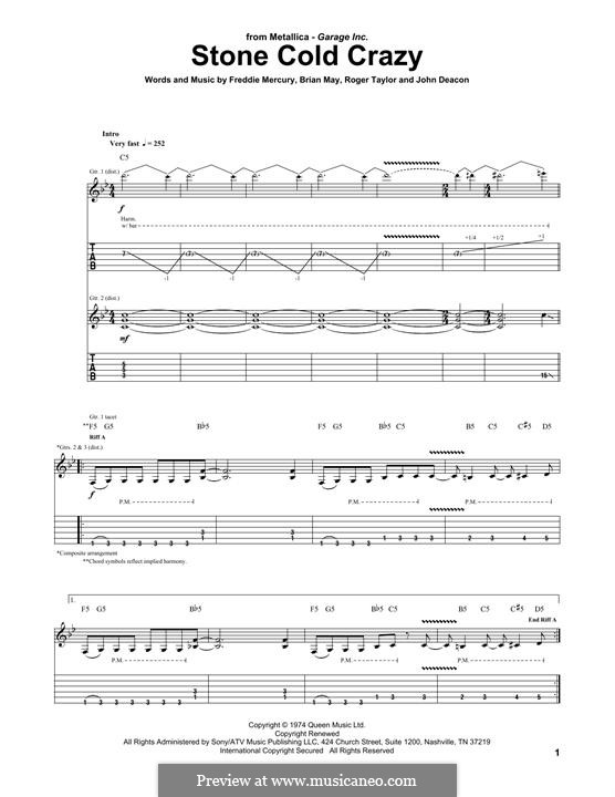 Stone Cold Crazy (Queen): For guitar with tab by Brian May, Freddie Mercury, John Deacon, Roger Taylor