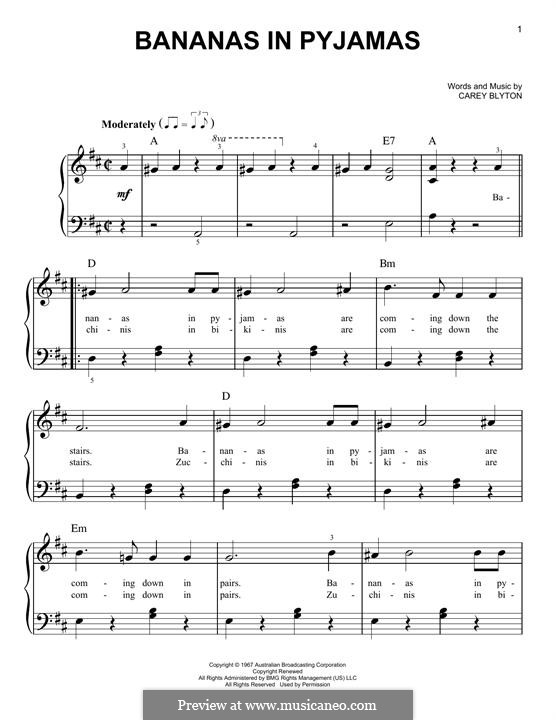 Bananas in Pyjamas: For piano by Carey Blyton