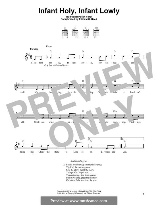 Infant Holy, Infant Lowly: For guitar with tab by folklore