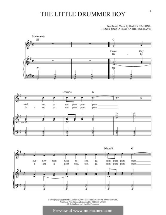 The Little Drummer Boy: For voice and piano by Harry Simeone, Henry Onorati, Katherine K. Davis