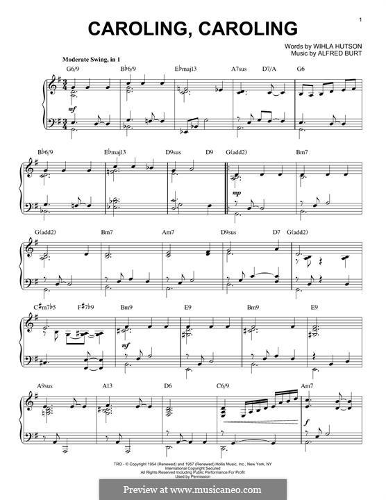 Caroling, Caroling (Nat King Cole): For piano (G Major) by Alfred Burt