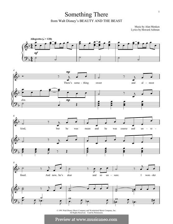 Something There (from Beauty and the Beast): For voice and piano by Alan Menken
