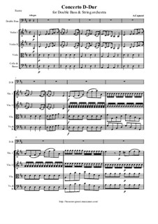 Concerto in D Major for Double Bass and Orchestra: Score and parts by Antonio Capuzzi