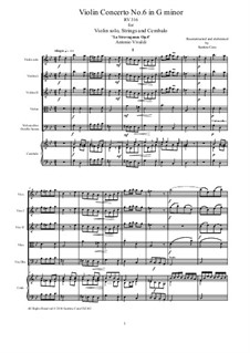 La stravaganza. Twelve Violin Concertos, Op.4: Violin Concerto No.6 in G Minor – score and all parts, RV 316 by Antonio Vivaldi