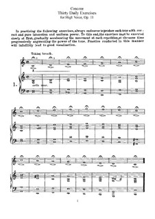 Thirty Daily Exercices, Op.11: For high voice by Giuseppe Concone