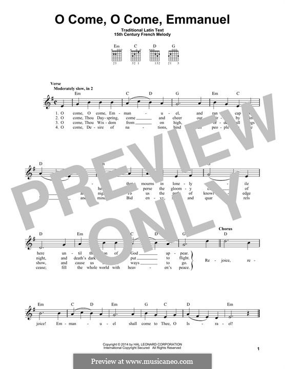 O Come, O Come, Emmanuel: For guitar with tab by folklore