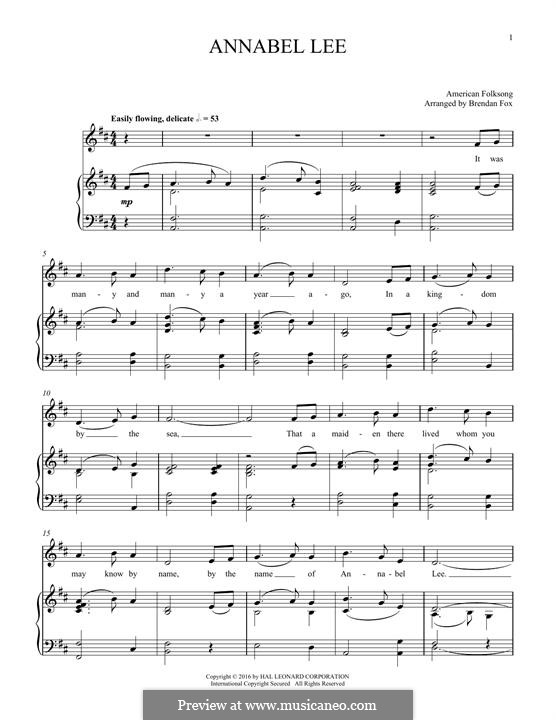 Annabel Lee: For voice and piano by folklore
