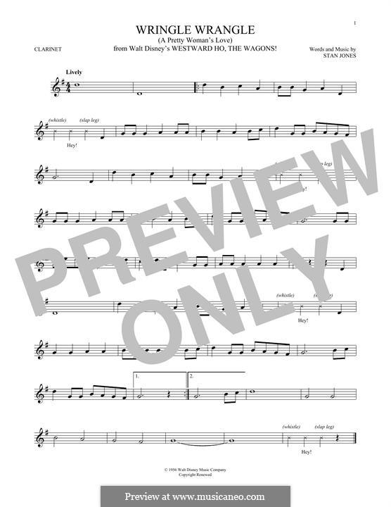 Wringle Wrangle (A Pretty Woman's Love): For clarinet by Stan Jones