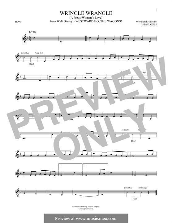 Wringle Wrangle (A Pretty Woman's Love): For horn by Stan Jones