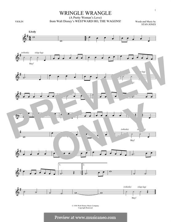 Wringle Wrangle (A Pretty Woman's Love): For violin by Stan Jones