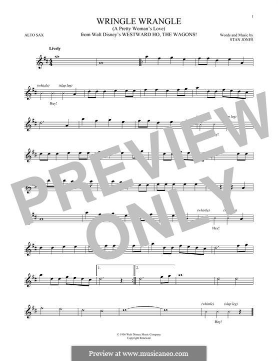 Wringle Wrangle (A Pretty Woman's Love): For alto saxophone by Stan Jones