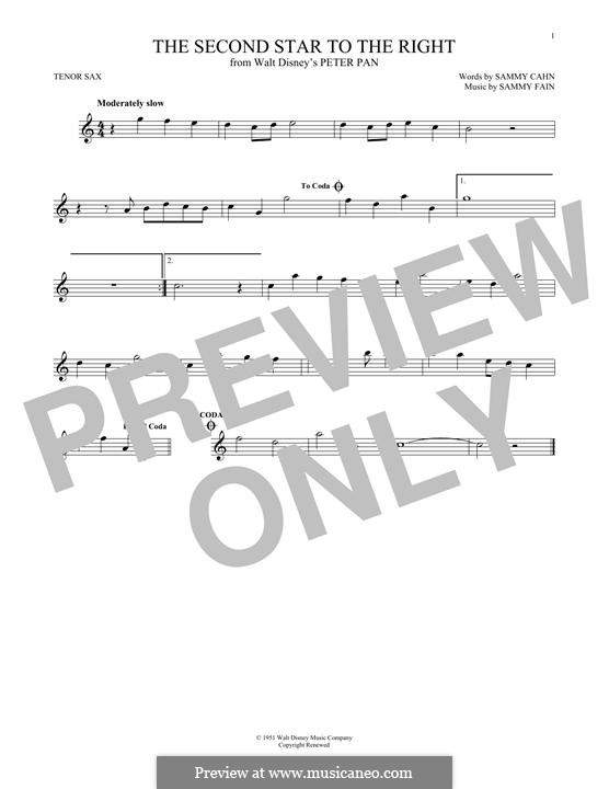 The Second Star to the Right (from Peter Pan): For tenor saxophone by Sammy Fain
