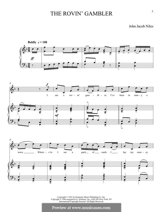 The Rovin' Gambler: For voice and piano by John Jacob Niles