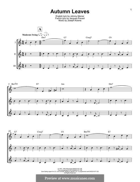 Autumn Leaves (Les Feuilles Mortes): For ukulele by Joseph Kosma