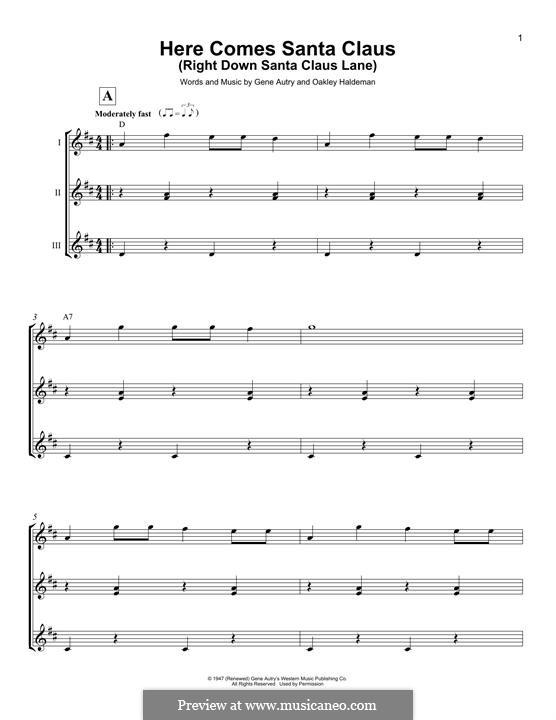 Here Comes Santa Claus (Right Down Santa Claus Lane): For ukulele (trio) by Gene Autry, Oakley Haldeman