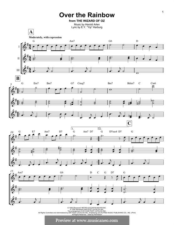 Over the Rainbow (from The Wizard of Oz): For trio by Harold Arlen