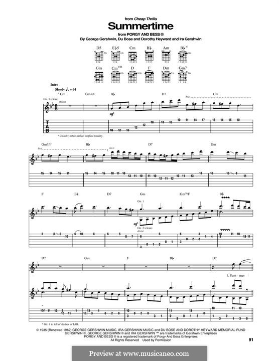 Summertime: For guitar with tab (Janis Joplin) by George Gershwin