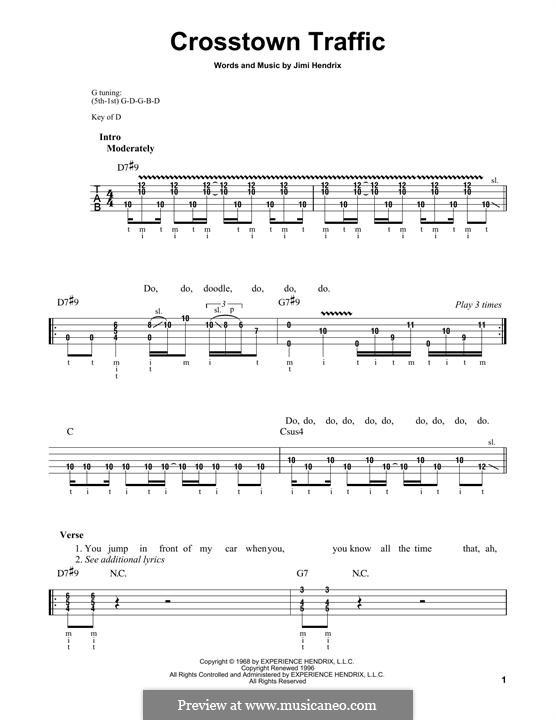 Crosstown Traffic: For banjo by Jimi Hendrix