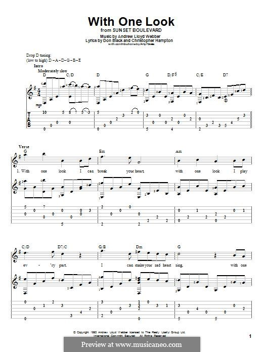 With One Look: For guitar with tab by Andrew Lloyd Webber