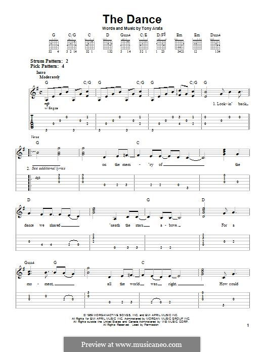The Dance: For guitar with tab by Tony Arata