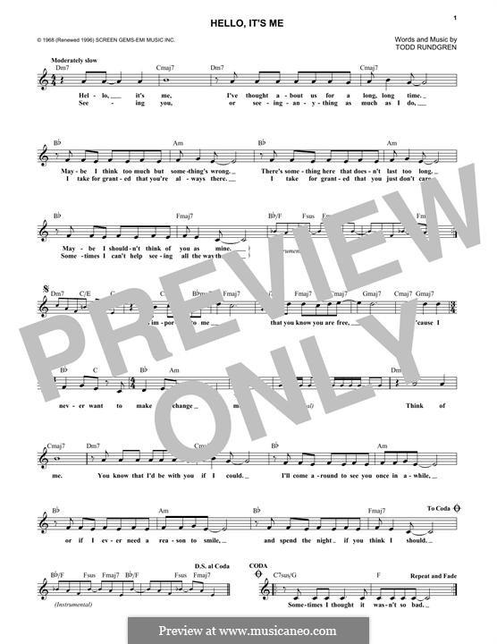 Hello, It's Me: Melody line by Todd Rundgren