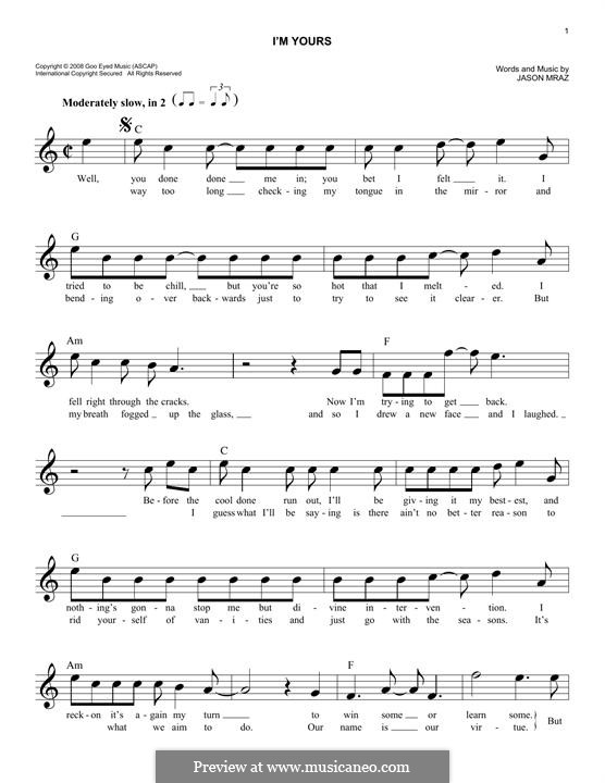 I'm Yours: Melody line by Jason Mraz