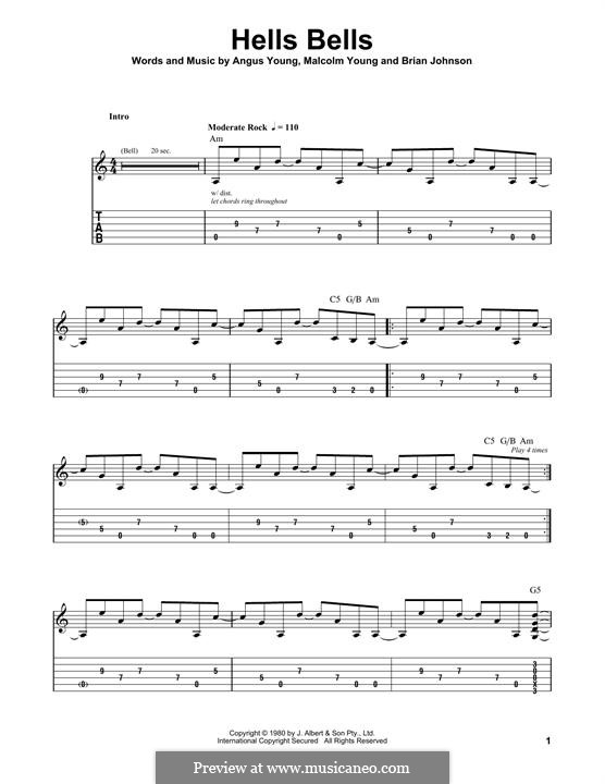 Hells Bells (AC/DC): For guitar with tab by Angus Young, Brian Johnson, Malcolm Young