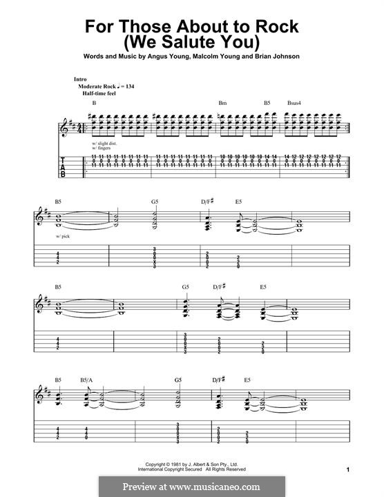 For Those About to Rock (We Salute You): For guitar with tab by Angus Young, Brian Johnson, Malcolm Young