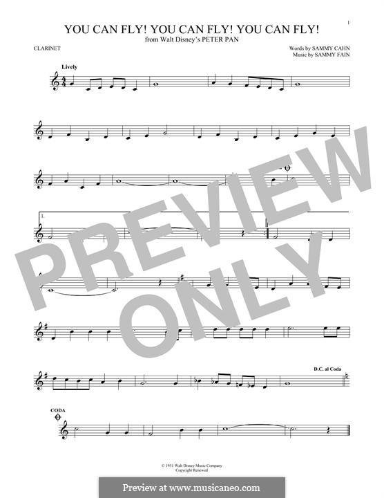 You Can Fly! You Can Fly! You Can Fly!: For clarinet by Sammy Fain