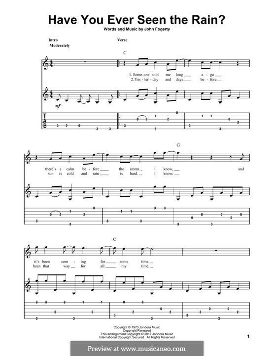 Have You Ever Seen the Rain? (Creedence Clearwater Revival): For guitar with tab by John C. Fogerty