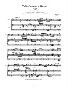 Six Violin Concertos, Op.6: Concerto No.1 in G Minor. Version for violin and piano, RV 324 by Antonio Vivaldi