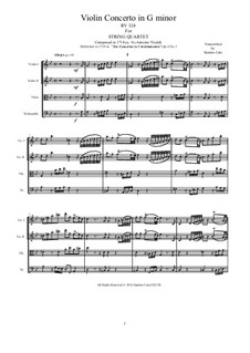 Six Violin Concertos, Op.6: Concerto No.1 in G Minor. Version for string quartet, RV 324 by Antonio Vivaldi