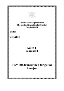 Suite No.1 in A Major, BWV 806: Courante 2, for guitar by Johann Sebastian Bach