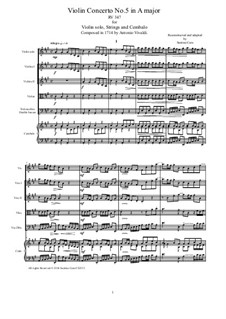 La stravaganza. Twelve Violin Concertos, Op.4: Violin Concerto No.5 in A Major – score, parts, RV 347 by Antonio Vivaldi