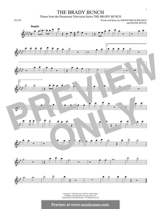 The Brady Bunch: For flute by Frank Devol