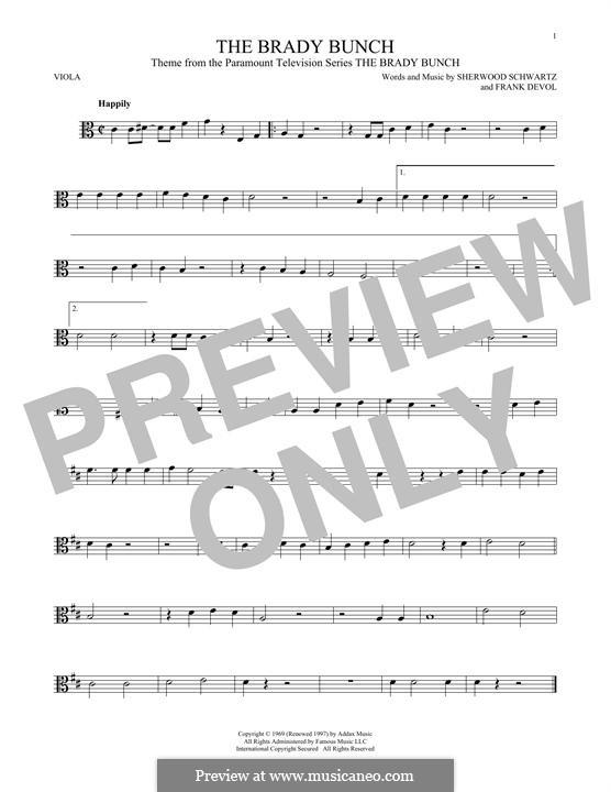 The Brady Bunch: For viola by Frank Devol
