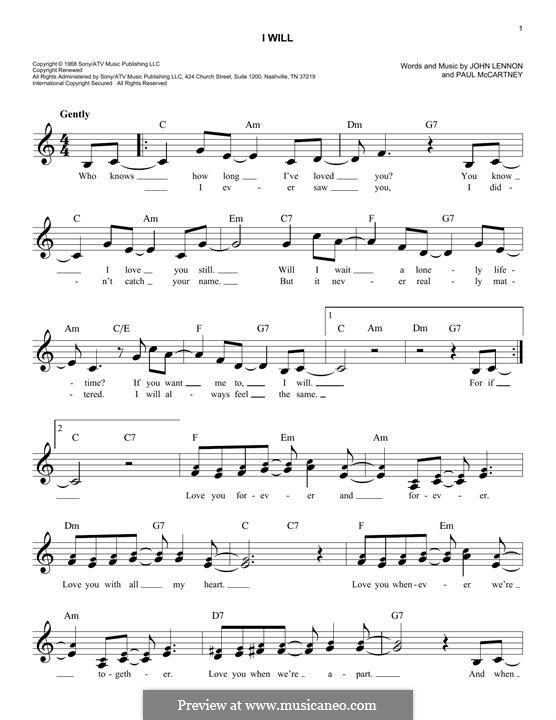 I Will (The Beatles): Lyrics and chords by John Lennon, Paul McCartney