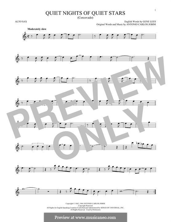 Corcovado (Quiet Nights of Quiet Stars): For alto saxophone by Antonio Carlos Jobim