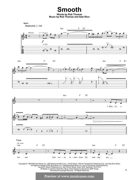 Smooth (Santana featuring Rob Thomas): For guitar with tab by Itaal Shur, Rob Thomas