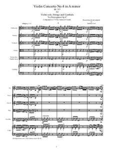 La stravaganza. Twelve Violin Concertos, Op.4: Violin Concerto No.4 in A Minor – score, parts, RV 357 by Antonio Vivaldi