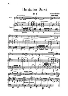 Dance No.4 in F Sharp Minor: For violin and piano by Johannes Brahms