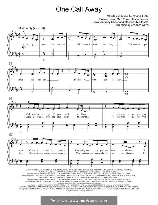 One Call Away: For piano by Justin Franks, Matthew Prime, Shy Carter, Breyan Isaac, Maureen McDonald, Charlie Puth