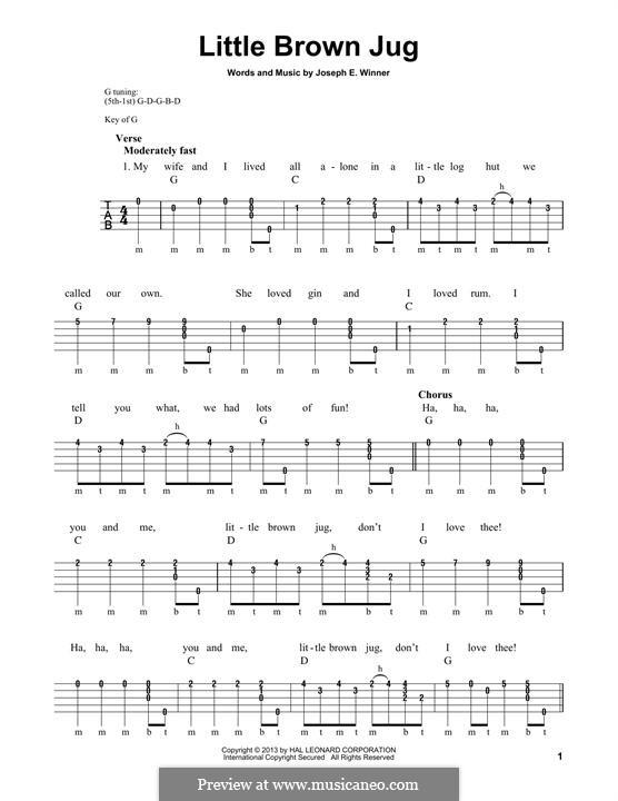 Little Brown Jug: For banjo by folklore