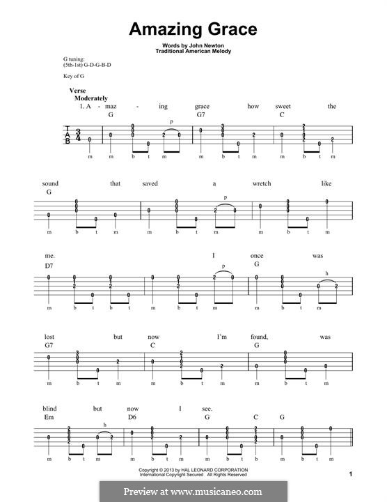 Amazing Grace (Printable Scores): For banjo by folklore
