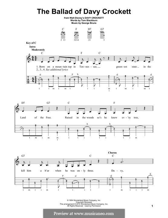 The Ballad of Davy Crockett (from Davy Crockett): For banjo by George Bruns