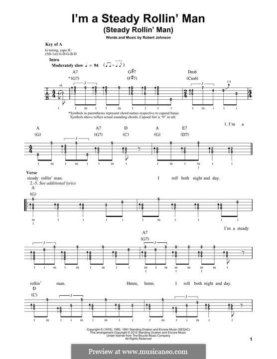 I'm a Steady Rollin' Man (Steady Rollin' Man): For banjo by Robert Leroy Johnson