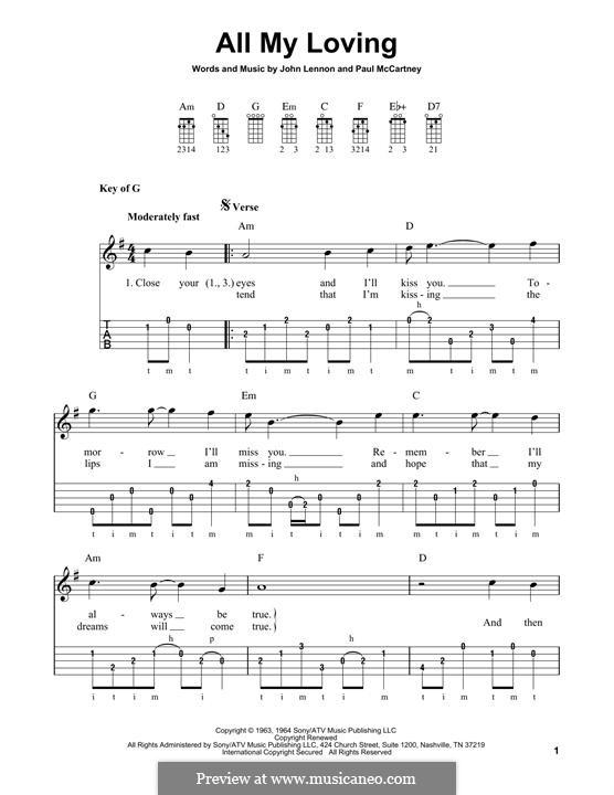 All My Loving (The Beatles): For banjo by John Lennon, Paul McCartney