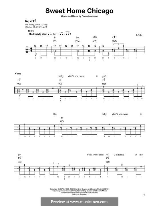 Sweet Home Chicago (Eric Clapton): For banjo by Robert Leroy Johnson