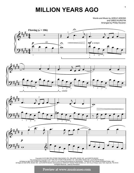 Million Years Ago: For piano by Adele, Greg Kurstin